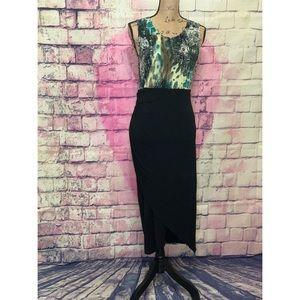 P. Luca Milano Black/Green Wrap Dress